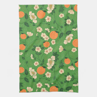 Peach Tree on Green Background Kitchen Towel