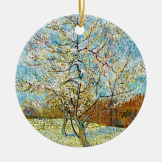 Peach Trees in Blossom Vincent Van Gogh Round Ceramic Ornament