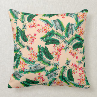 Peach Tropical Throw Pillow