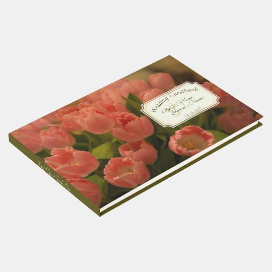 Peach Tulips & Foliage Green Wedding Guestbook