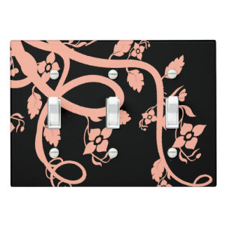 Peach Vine, Leaf, and Floral Design Light Switch Cover