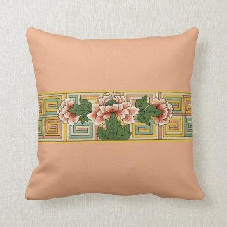 Peach Vintage Asian Floral Flower Throw Pillow