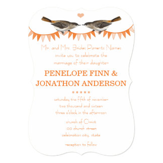 Peach Vintage Bird Bunting Wedding Invitations
