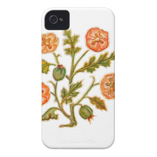 Peach Vintage Embroidery Style Flowers iPhone 4 Cases