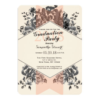 Peach Vintage Floral and Stripe Card