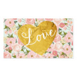 Peach Vintage Floral Fake Gold Love Heart Girly Double-Sided Standard Business Cards (Pack Of 100)