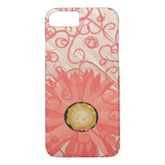 Peach Vintage Swirls with Gerbera Daisy Phone Case