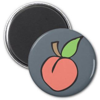 Peach w/ green leaf Pattern 2 Inch Round Magnet