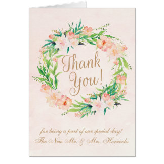 Peach Watercolor and Floral Wedding Thank You Card