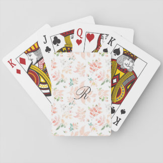 Peach Watercolor Botanical Floral Monogrammed Playing Cards