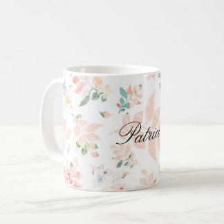 Peach Watercolor Botanical Floral Personalized Coffee Mug
