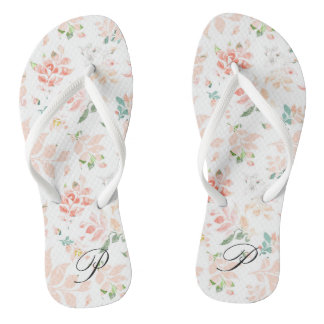 Peach Watercolor Botanical Floral Personalized Flip Flops