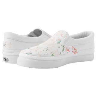 Peach Watercolor Botanical Floral Personalized Slip-On Sneakers