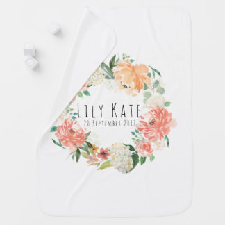 Peach Watercolor Floral Baby Name Baby Blanket