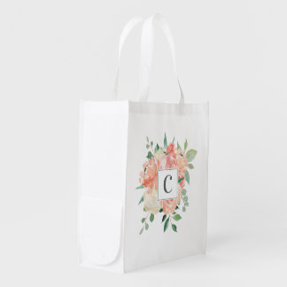Peach Watercolor Floral Bouquet with Monogram Reusable Grocery Bag