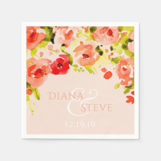 Peach Watercolor Floral Wedding Monogram Paper Napkin