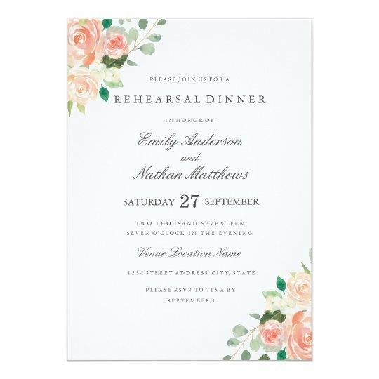 Peach Watercolor Floral Wedding Rehearsal Dinner Card