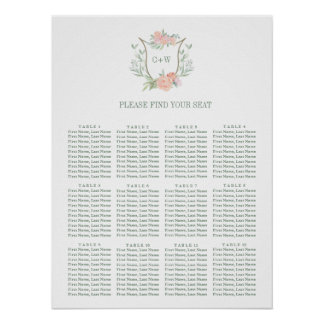 Peach Watercolor Flower Seating Chart
