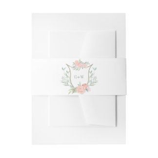 Peach Watercolor Flower Wedding Crest Belly Band Invitation Belly Band