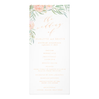 Peach Watercolor Flower Wedding Program