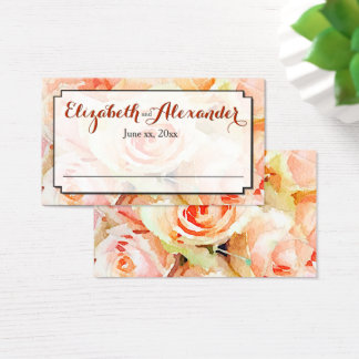 Peach Watercolor Roses Wedding Place Card