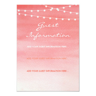 Peach Watercolor String Lights Guest Information Card