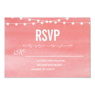 Peach Watercolor String Lights RSVP Card