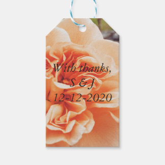 Peach wedding theme gift tags