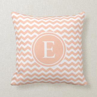 Peach White Chevron Monogram Throw Pillows