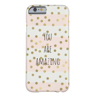 Peach White Gold Stripes Confetti Amazing Barely There iPhone 6 Case