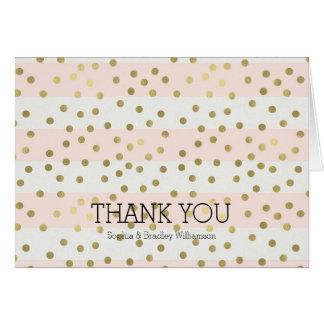 Peach White Gold Stripes Confetti Thank you Card