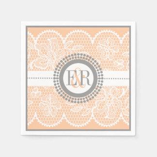 Peach, white lace pattern wedding disposable napkins