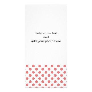 Peach White Polka Dots Pattern Photo Card Template