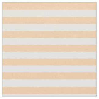 Peach & White Striped Fabric