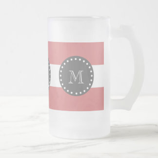 Peach White Stripes Pattern, Charcoal Monogram Beer Mug