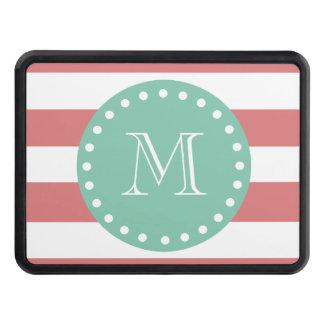 Peach White Stripes Pattern, Mint Green Monogram Hitch Covers