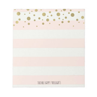 Peach White Stripes with Gold Confetti Notepads