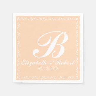 Peach White Wedding Monogram Napkin