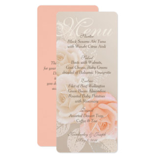 Peaches and Cream Roses Wedding Menu EP Card