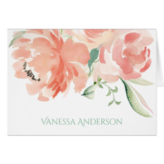Peaches and Cream Watercolor Floral Personalized Card