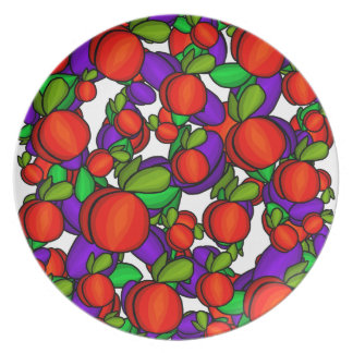 Peaches and plums dinner plates