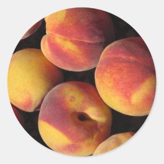 Peaches background round sticker