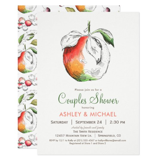 Peaches Couples Shower Invitation