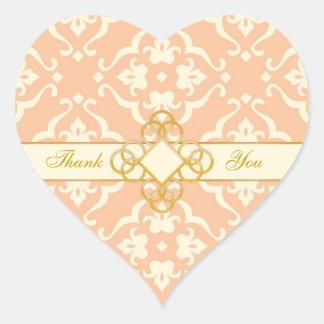 Peaches & Cream Floral Damask Ivory Jewel Wedding Heart Sticker