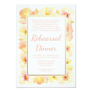 Peaches & Cream Gold Rehearsal Dinner Invite