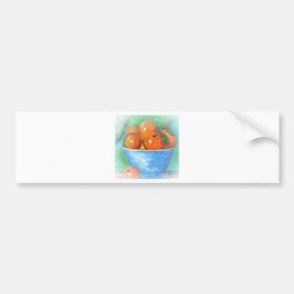 Peaches in a Blue Bowl Vignette Bumper Sticker