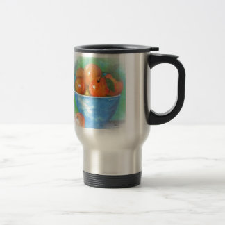 Peaches in a Blue Bowl Vignette Travel Mug