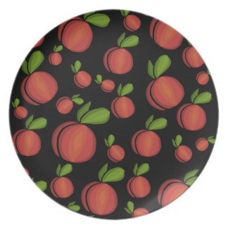 Peaches pattern party plate