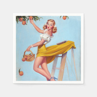 Peaches Pin Up Paper Napkin