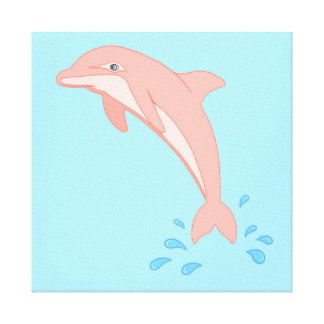 Peaches the Pink Dolphin Canvas Print